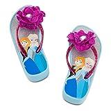 Disney Store Frozen Anna and Elsa 2 pc Beach set includes Towel and Platform Flip-Flops Size 2/3 by DIS