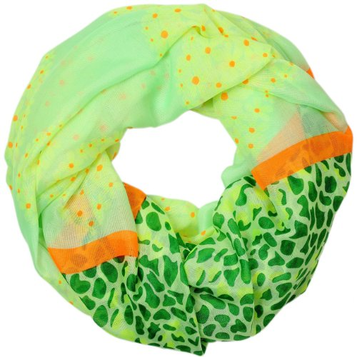 CASPAR FASHION Sommer Loop Schal mit Herzen / Leo Print - grün / neon orange