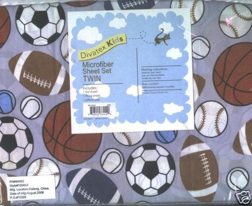 Divatex Kids Microfiber Sheet Set FULL New Sports | bedsetsforkids.