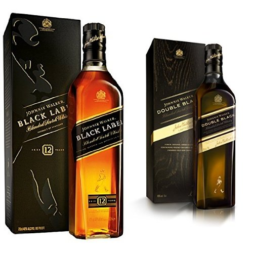 discount duty free Bundle: Johnnie Walker Black and Double Black Label Blended Scotch Whisky 70cl