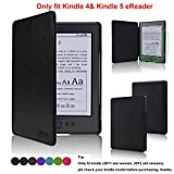 Kindle Case- ACcover Amazon Kindle 5 & Kindle 4 Protective Case - Ultra Slim PU Leather Cover Case for Amazon Kindle 4 / Kindle 5 With Magnet Closure (Only fit kindle 4,not fit kindle 7th Generation Or kindle paperwhite/kindle touch) - Black