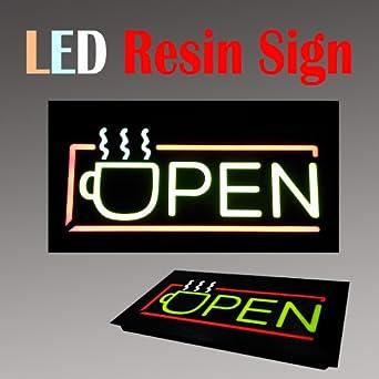 lighted led resin window business sign open coffee drink tea. Black Bedroom Furniture Sets. Home Design Ideas
