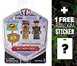Sky Hero: Tube Heroes 2-Mini Action Figure Pack Series + 1 FREE Official Minecraft Mini-Sticker Sheet Bundle
