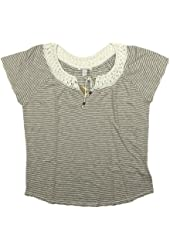 Womens Lucky Brand Embroidered Peasant Top