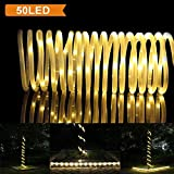 LTE 50 LED Solar Rope Lights, 23ft ,Warm White, Waterproof , Outdoor Solar Rope Lights ,Christmas Lights, Ideal for Decorations,gardens, Lawn, Patio, Weddings, Parties