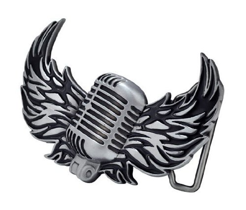 Vintage Microphone With Wings Belt Buckle Brushed Metal Mic