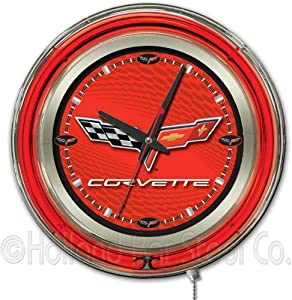 Corvette - C6 15 Double Neon Ring Logo Wall Clock Color: Red Black by Holland Bar Stool