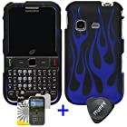 3 items Combo: ITUFFY (TM) LCD Screen Protector Film + Case Opener + Black Blue Flame Design Rubberized Snap on Hard Shell Cover Faceplate Skin Phone Case for Samsung S390G (Straight Talk / Net 10 / Tracfone)