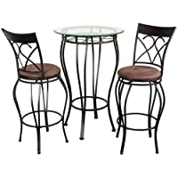 Home Source Industries Fancy Bistro Decorative Metal Pub Table with Glass Top and 2 Stools, Black by Home Source Industries