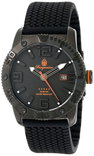 Burgmeister BM522-622B - Reloj analógico de cuarzo para hombre con correa de silicona, color negro