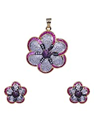 Gehna American Diamond & Pink Tourmaline Studded Pendant Set With Two Tone Rhodium