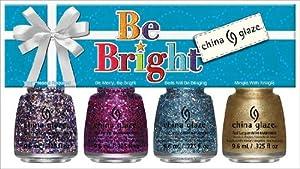 China Glaze Holiglaze Range Be Bright Glitter Polish Gift includes 4-Piece Mini Glitter Set/ Nail Polish Lacquer 14 ml