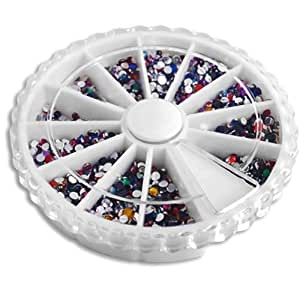 2000 Nail Art Tips Glitter Rhinestone Decoration+Wheel