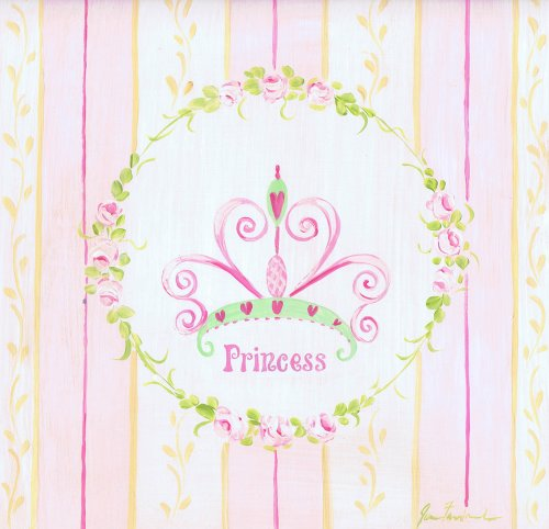 The Kids Room by Stupell Princess Crown with Yellow and Pink Stripes Square Wall Plaque