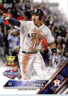 2016 Topps Opening Day #OD-58 Carlos Correa Houston Astros Baseball Card in Protective Screwdown Display Case