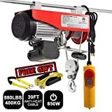Partsam 880 lbs Lift Electric Hoist Crane Remote Control Power System, Zinc-Plated Steel Wire Overhead Crane Garage Ceiling Pulley Winch w/Premium Straps (UL/CUL Approval, w/Emergency Stop Switch) (Tamaño: 880 lbs w/ 2 Slings)