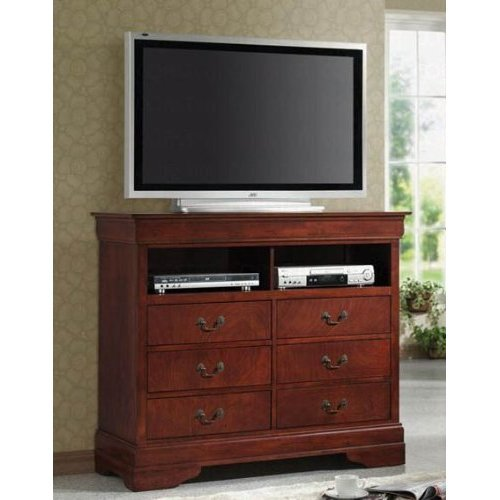 TV Dresser Stand Louis Philippe Style in Cherry Finish
