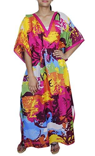 Lungo caftano stampa abaya vestito da estate di modo camicetta spiaggia maniche corte donna