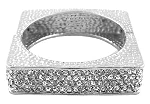 Square Silver Rhinestone Hinged Bangle Basketball Wives Poparazzi Inspired