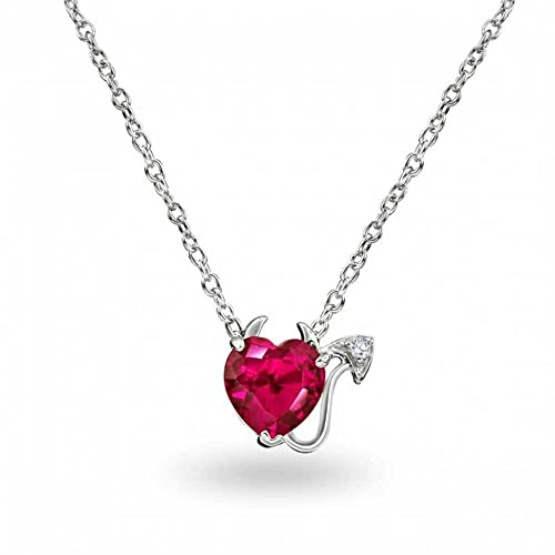 Bling Jewelry Sterling Silver CZ Simulated Ruby Red Heart Devil Necklace 16in