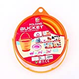 "ToyerBee Multifunctional Homeware Foldable Silicone Collapsible Bucket Retractable Pack Away Bucket Bowl Flexible Gallon Camping Supply- Orange 7.7""x 4.7""x 6.5"""