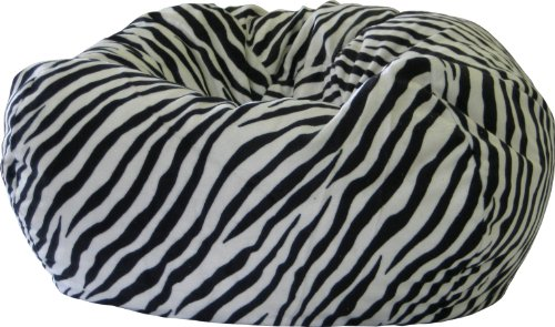 Bean Bag Chair Fuzzy Zebra Suede Large