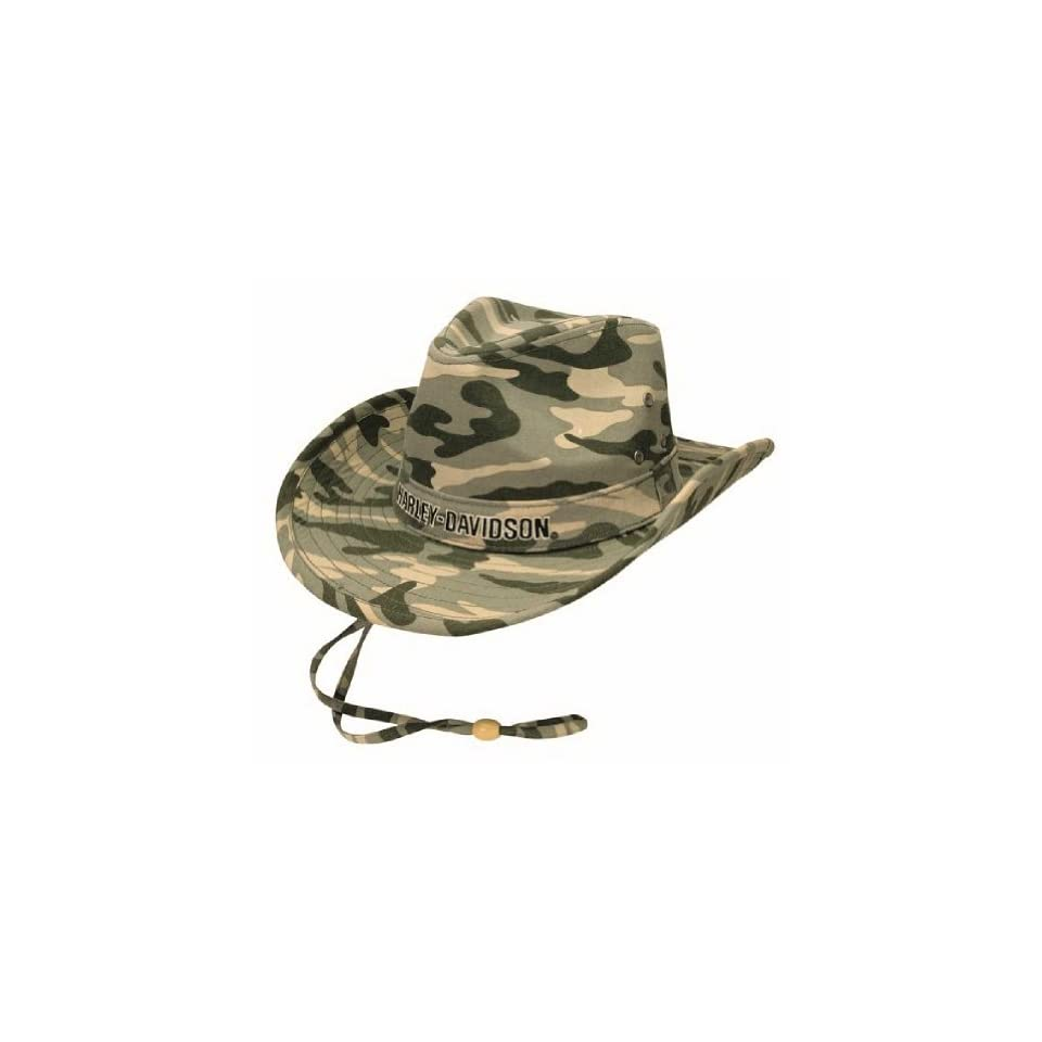 Harley Davidson Mens Embroidered H D HD 465 Camo Cotton Outback Hat ... b3fd210aaeef