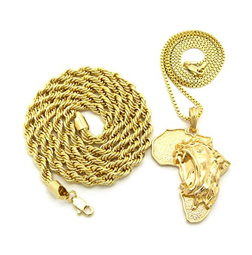 Leone sull' Africa Ciondolo w/2mm 61cm Box Catena Corda e 6mm 76cm collana in oro