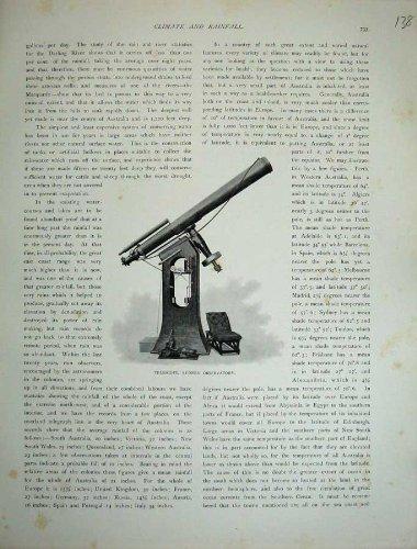 1886 Australia Telescope Sydney Observatory Old Print