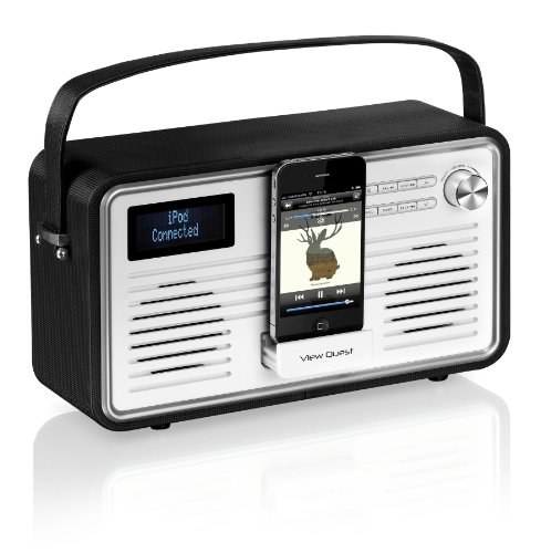 View Quest RETROWF-BK/C Retro Internet Radio (Wifi, DAB, DAB+ and FM) with iPhone and iPod Speaker - Black/Cream
