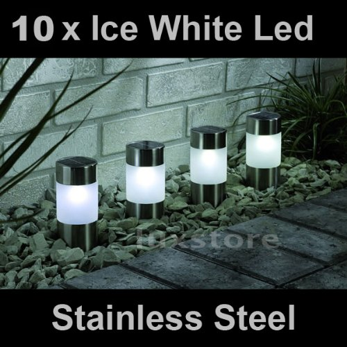 10 x Ice White Solar Led Light Garden Path Marker Mini Bollard Patio Deck Decking- Stainless Steel - Mini Bollard
