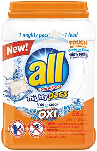 All Mighty Pacs Laundry Detergent, Free Clear OXI, Tub, 56 Count (Oxi Free Laundry compare prices)
