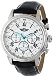 I By Invicta Mens 90242-002 Chronograph Silver Dial Black Leather Watch
