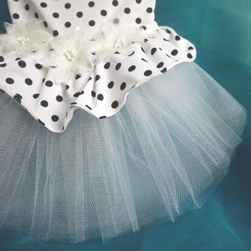 Pet Apparel Princess Dog Dresses Small Dog Wedding Dress Fashion Polk Dot Style Bridal Veil White Dog Skirt Elastic Fabric Material (M)