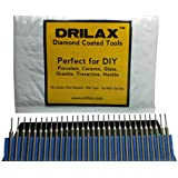 "Drilax™ 30 Pcs Premium 1mm Diamond Drill Bit Burr Set 1/24"" (1mm) Jewelry Necklaces Earrings, Pendants, Bracelets w/ Sea Shells, Beach Glass, Tiles, Marble, Rocks, Ceramic, Porcelain, Gemstones Lot 30 Case Coated Drills Burrs Drilax300101"