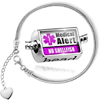 Charm Set Medical Alert Purple No Shellfish - Bead comes with Bracelet , Neonblond by NEONBLOND