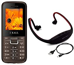 I KALL K88 Mobile with MP3/FM PLayer Neckband combo-Brown