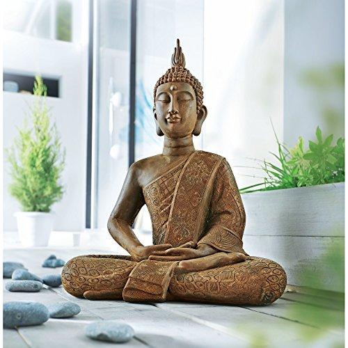 Dekofigur buddha rost optik polyresin braun ca 63 cm hoch for Gartenskulpturen rost