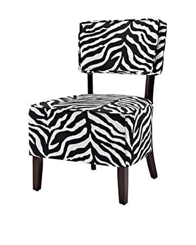 Westport Home Zara Accent Chair, Zebra Black/Ivory