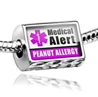 "Neonblond Beads Medical Alert Purple ""Peanut Allergy"" - Fits Pandora Charm Bracelet by NEONBLOND Jewelry & Accessories"