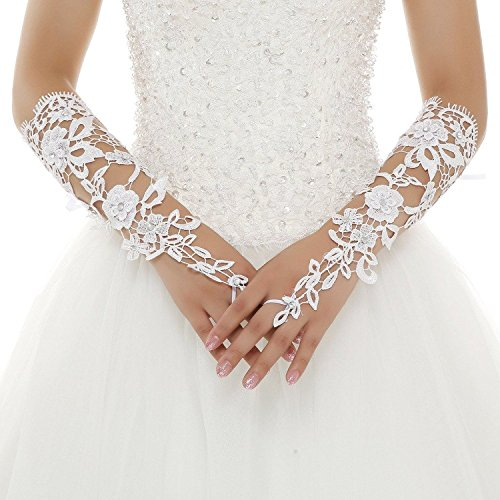 Kiss Rain Women's Crystals Long Fingerless Lace Bridal Wedding Gloves (Ivory)