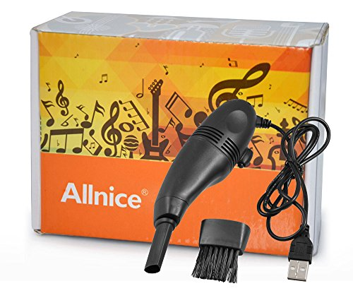 Allnice® Black Mini Usb Led Keyboard Vacuum Cleaner Brush Dust Collector For Computer Laptop Notebook Cell Phone Camera Monitor