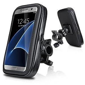 Support vélo du guidon,Wotek Universel Support fixation guidon avec étui imperméable pour téléphone mobile 5,2 pouces - 5,7 pouces tels que iPhone 6s /6 Plus, Samsung Galaxy S7 /S6 EDGE, Samsung Galaxy S7 S6 S5, HUAWEI P9 P8, LG G5 G4 (5.2