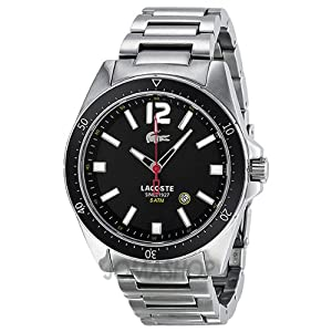 Lacoste Seattle Black Dial Stainless Steel Mens Watch 2010639: Lacoste