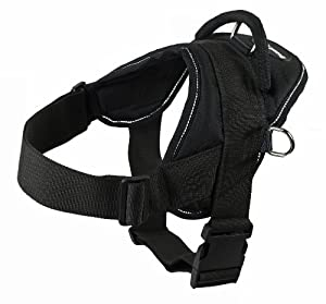 Dean & Tyler Dog Harness, Small, Fits Girth Size: 22-Inch to 27-Inch, Black with Reflective Trim
