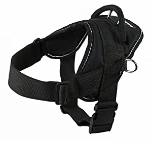 Dean & Tyler Dog Harness, Large, Fits Girth Size: 32-Inch to 42-Inch, Black with Reflective Trim
