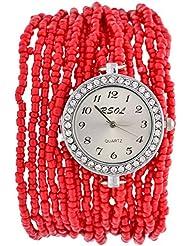 Swadesi Stuff Analog Red Dial Women's Wrist Watch - ROUND_MOTI_RED