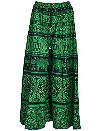 Havya Fashion Women's Cotton Jaipuri Print Plazo Palazzo(Green With Black, 32)