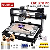 Upgrade Version 7W CNC 3018 Pro Engraver Machine,GRBL Control 3 Axis DIY Router Kit Plastic Acrylic PCB PVC Wood Carving Milling Engraving Machine with Offline Controller+10PCS Router Bits+Er11 (Tamaño: Full Size)