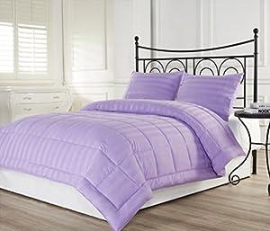 3pcs Hotel Dobby Stripe Down Alternative Lightweight Comforter Set Purple
